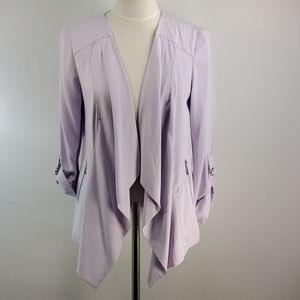 CHICO'S PURPLE HIGH LOW JACKET WITH ROLL UP CUFFS